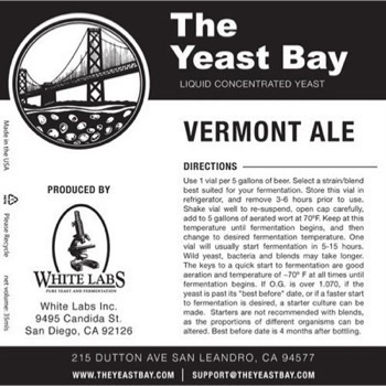 The Yeast Bay Bay Vermont Ale Yeast